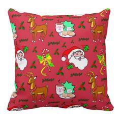 Santa Claus - Reindeer & Candy Canes Throw Pillow $66.95