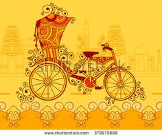 Find Vector design of cycle rickshaw in Indian art style stock vectors and royalty free photos in HD. Explore millions of stock photos, images, illustrations, and vectors in the Shutterstock creative collection. Rajasthani Painting, Rajasthani Art, Indian Traditional Paintings, Indian Art Paintings, Arte Tribal, Tribal Art, Design Vector, Vector Art, Design Design