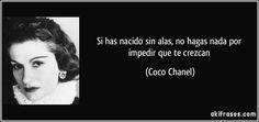 Si has nacido sin alas, no hagas nada por impedir que te crezcan (Coco Chanel)