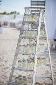 drink stand idea for a beach wedding / http://www.deerpearlflowers.com/fun-and-easy-beach-wedding-ideas/2/