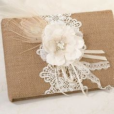 Burlap and Lace Guest Book | #exclusivelyweddings