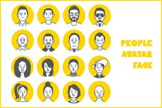 People Avatar Face icons by LIFEWIND graphic on @creativemarket