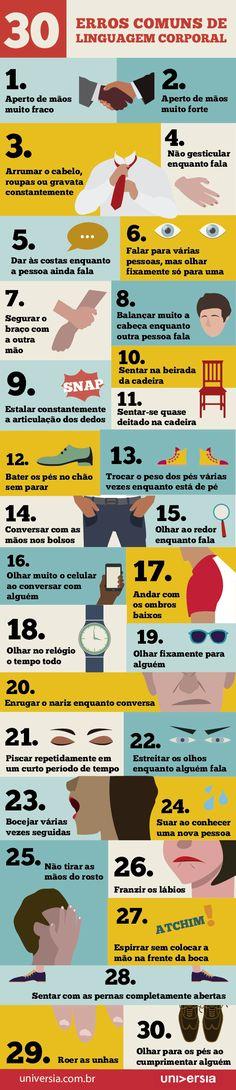 Infográfico: os 30 erros comuns de linguagem corporal