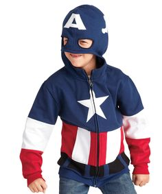 Love this Navy Captain America Zip-Up Hoodie - Toddler & Boys by chasing fireflies on #zulily! #zulilyfinds