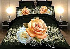 Jacquard nero modello stampa rosa grande camera da letto letto-d quattro pezzi…