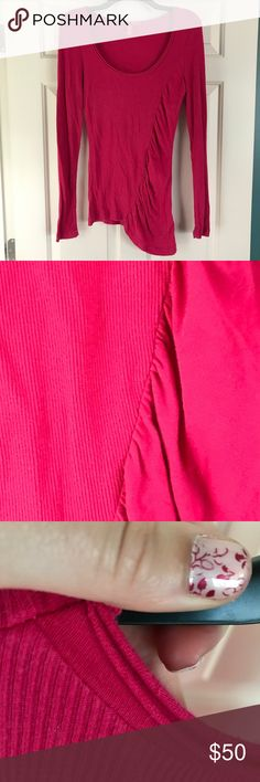 Charlotte Pink Mixed Fabric Long Sleeve Top Super flattering, ruched pink top is comfortable and fun. An asymmetrical hem and mixed use of fabric make this a work of art. Great condition. Smoke-free home. Let me know if you have questions. Charlotte Ronson Tops Blouses