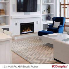 """Dimplex's 33"""" Multi-Fire XD Electric Fireplace, Instant and Convenient Ambiance. Discover your home fireplace today at: http://www.dimplex.com/en/"""