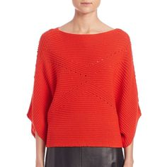 Tess Giberson Moving Ribbed Cropped Sweater ($445) ❤ liked on Polyvore featuring tops, sweaters, apparel & accessories, cropped sweater, red crop top, cropped pullover sweater, pullover poncho and pointelle sweater