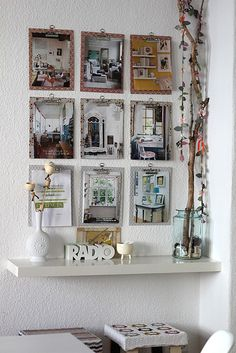 Clipboards can be changed out with latest inspiring pics and shelf can serve as extra desk space. decor8