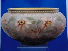 Frederick & Alexander Gerbing (F&AG) Austria Floral Motif Pottery Planter/Vase (c.1900-1903) Dark Flowers, Autumn Decorating, Vase, Floral Motif, Clay Art, Art Nouveau, Decorative Bowls, Porcelain, Pottery