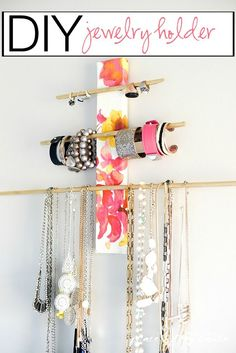 This is a unique DIY JEWELRY HOLDER that can hold all your pretty necklaces bracelets and rings.