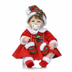 49.16$  Buy now - http://ali745.worldwells.pw/go.php?t=32486903294 - 16 inch Christmas girl gift toy soft vinyl doll reborn baby in Christmas Dress and Cap Girls Holiday gifts 49.16$