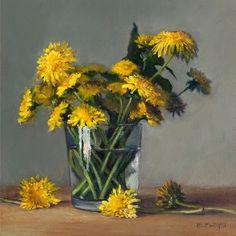 Dandelions Still-life Painting  art giclee by elizabethfloydstudio