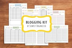 Blogging Kit Stay Organized PDF Printable by simplyorganizedshop, $8.50