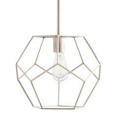 Geometrics are a big trend in fashion, just as they are for interiors. This open-caged pendant, shown here with an Edison bulb, is the perfect example of just how stylish pentagons can be. Made of polished nickel-plated stainless steel, this design makes great shadows on the wall and ceiling.   Material: Steel Finish: Polished Nickel