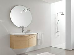 Wall-mounted oak vanity unit with mirror MINERVA 306 Minerva Collection by Edoné by Agorà Group | design Marco Bortolin