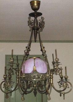 RARE HUGE VICTORIAN 1880s 12 LIGHT CENTER DOME GAS CHANDELIER CEILING FIXTURE