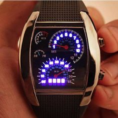 LED Car Watch/Table with Blue Light Arch Dial and Silicon Watch Band