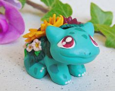 Handmade Blooming Bulbasaur Figurine | Miniature Polymer Clay Sculpture | Pokemon Universe