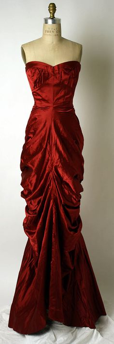 1949 Vintage red silk dress! Schiaparelli vintage evening gown