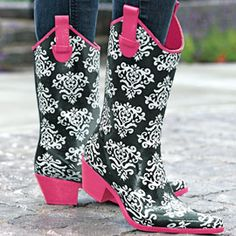 Cowgirl Rubber Rain Boots...so adorable!