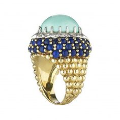 14K TURQUOISE AND LAPIS RING    $3500