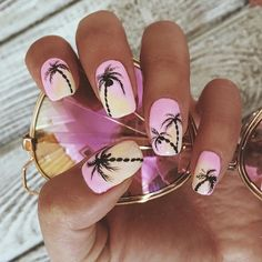 Having cute nails in the summer is just as important as at any other time of the year. here are 35 summer-ready nail art designs for you to try out at home! Pretty Nails For Summer, Summer Nails, Nails Yellow, Palm Tree Nails, Cute Nail Art Designs, Nail Design Video, Beach Nails, Nail Art Videos, Beautiful Nail Art