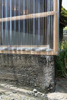 Insulation for bottom of polycarbonate wall. Shed Design, Garage Design, Building Design, House Design, Woodland House, Backyard Buildings, Metal Siding, Patio Makeover, Garden Studio