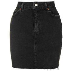 TopShop Moto High Waisted Denim Skirt (2,700 DOP) ❤ liked on Polyvore featuring skirts, denim skirt, high waisted skirts, high waisted knee length skirt, high-waisted skirts and knee length denim skirt