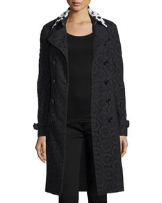 Macrame Lace Trenchcoat with Contrast Collar, Black by Burberry at Bergdorf Goodman.