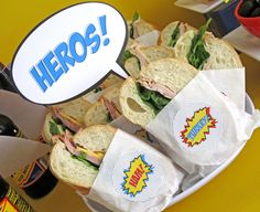 "Super""hero"" Sandwiches for Superhero party."