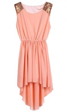 Peach Sequined Shoulder Sleeveless Dipped Hem Dress pictures