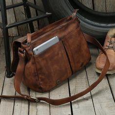 Handmade leather men Briefcase messenger vintage shoulder laptop bag v Laptop Shoulder Bag, Leather Shoulder Bag, Laptop Bag, Briefcase For Men, Messenger Bag Men, Leather Men, Leather Jackets, Leather Bags, Pink Leather
