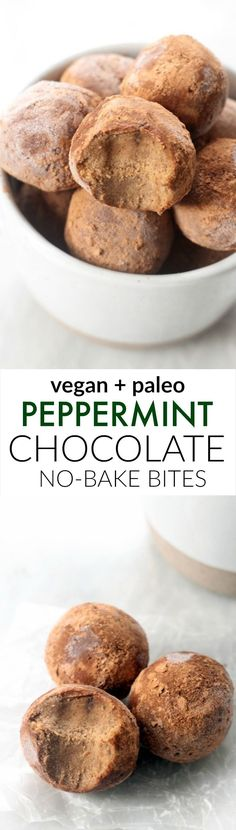 Decadent Peppermint Chocolate No-Bake Bites (Paleo, Vegan)