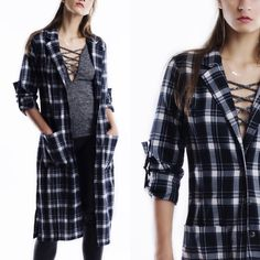 """X """"Madame"""" Long Plaid Trench Jacket Lightweight navy plaid trench jacket with long tabbed sleeves. Unlined. Brand new. True to size. NO TRADES. This is an actual pic of the item - all photography done personally by me. Bare Anthology Jackets & Coats Trench Coats"""