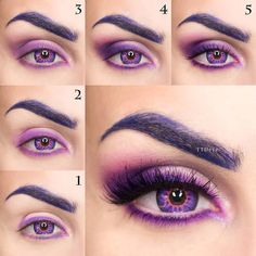 Read about eye makeup tutorial Pink Eyeshadow Look, Bright Eye Makeup, Purple Eye Makeup, Colorful Eye Makeup, Smokey Eye Makeup, Eyeshadow Makeup, Eyeliner, Eyeshadow Step By Step, Makeup Step By Step