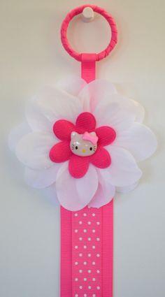 Pink Kitty Hair Bow Holder via Etsy