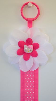 Pink Kitty Hair Bow Holder via Etsy