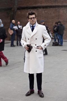 Pitti Uomo.  Only the Italians would create and wear a white, knee-length peacoat. Power to them.
