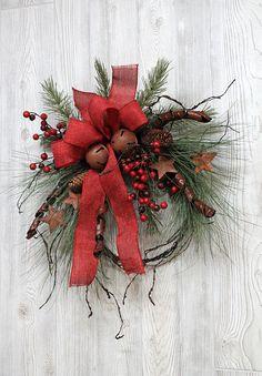 Ships Free Rustic Winter Wreath Christmas Wreath Winter Christmas Swags, Xmas Wreaths, Christmas Art, Winter Christmas, Christmas Decorations, Christmas Ideas, Winter Wreaths, Holiday Ideas, Twig Wreath