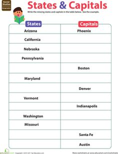 If your grader needs extra practice learning the U. state capitals, this fill-in-the-blank states and capitals worksheet is just the ticket. 5th Grade Social Studies, Social Studies Worksheets, School Worksheets, Teaching Social Studies, Teaching History, Teaching Tips, Mason School, Educational Activities For Kids, Learning Activities