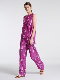 Printed, floaty trousers
