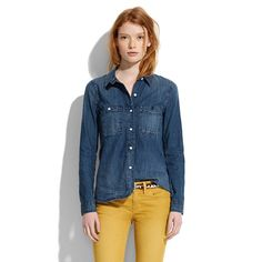 the denim chambray shirt is back!