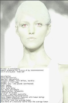 """A """"Nordic"""" or """"Tall White"""". Notice she comes from Mount Ziel, near Pine Gap, the U.S. Military Base in Northern Austr.alien territory??..."""