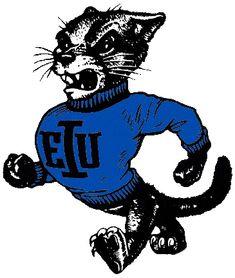 Eastern Illinois Panthers Primary Logo (1988) - Walking Panther with blue EIU shirt