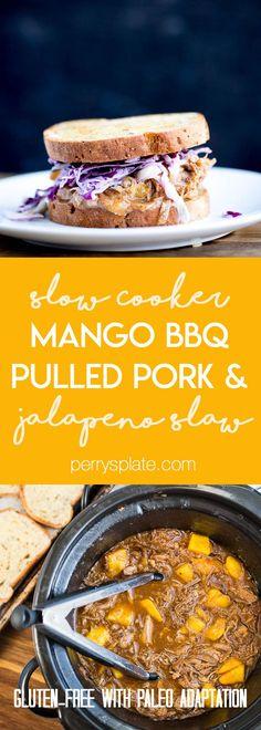 Slow Cooker Mango BBQ Pulled Pork with Jalapeno Slaw | slow cooker recipes | crockpot recipes | gluten-free recipes | pork recipes | perrysplate.com
