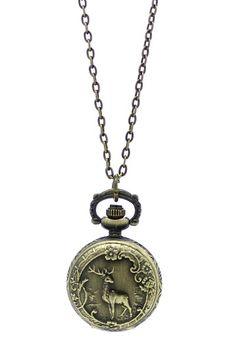 Deer Pocket Watch Necklace