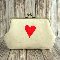 Personalized Clutch Bag with Red Heart Hand Print  by BagsCloset