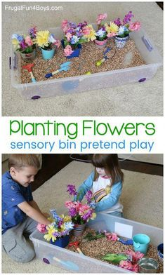 Planting Flowers Sensory Bin - Pretend play idea for preschoolers, great fine motor practice Spring Activities for Kids Toddler Learning Activities, Spring Activities, Infant Activities, Preschool Activities, Kids Learning, Indoor Activities, Family Activities, Spring Preschool Theme, Preschool Flower Theme