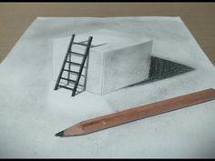 【トリックアート】紙に穴を開けてハシゴをかける方法 Trick Art - YouTube